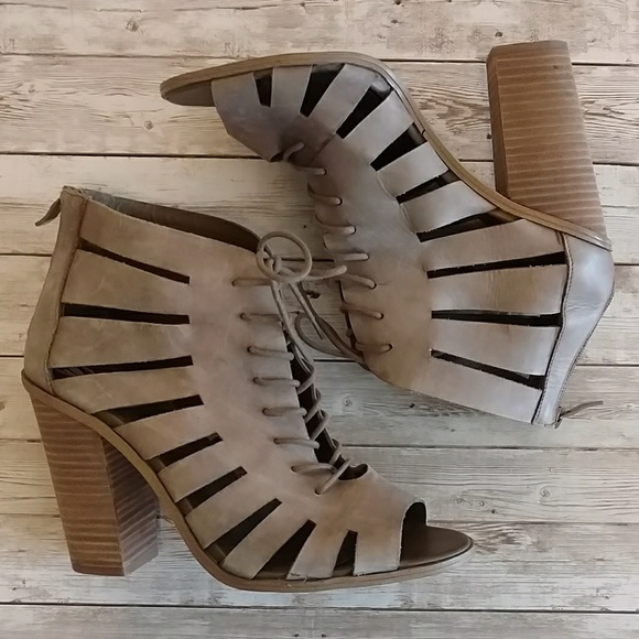 BCBG Shoes - //BCBG// lace up peephole tan heels